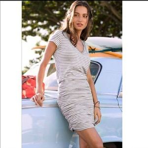 Athleta Topanga Gray & White Striped Ruched Dress